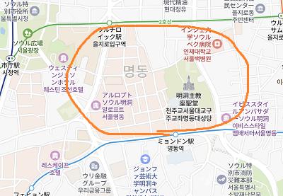 明洞の地図