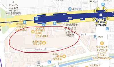 広蔵市場の地図