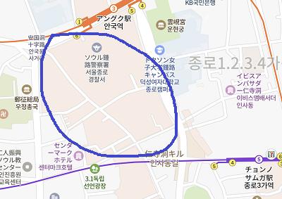 仁寺洞の地図